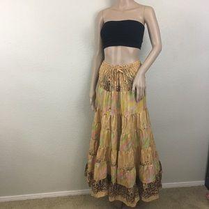 Dresses & Skirts - 100% Silk Boho Tiered Festival Maxi Skirt